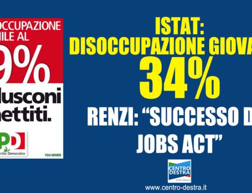 DISOCCUPAZIONE GIOVANILE AL 34% E IL GOVERNO FESTEGGIA!