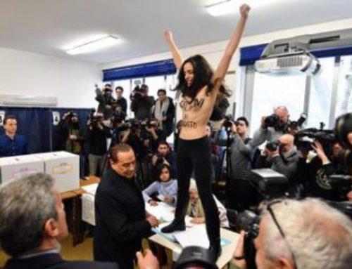 FEMEN: DONNA NUDA NEL SEGGIO DI BERLUSCONI