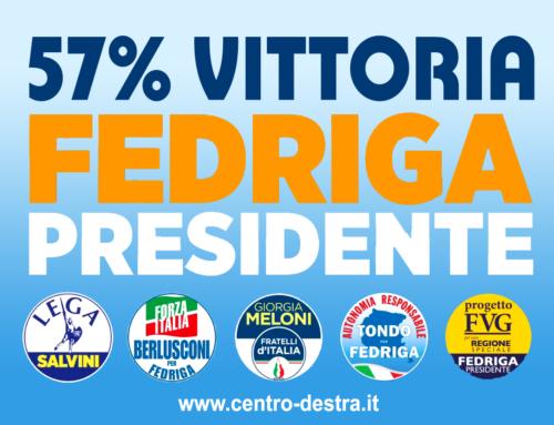 FRIULI VENEZIA GIULIA: TRIONFO DI FEDRIGA DEL CENTRODESTRA COL 57%