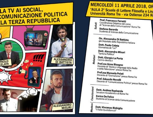 """""""DALLA TV AI SOCIAL: LA COMUNICAZIONE NELLA III REPUBBLICA"""" – APPUNTAMENTO DOMANI A ROMA 3"""