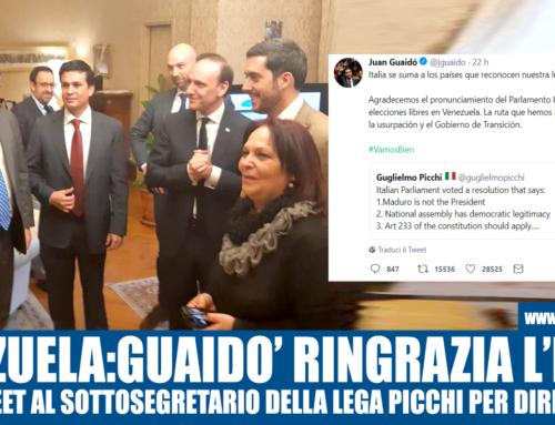 VENEZUELA: GUAIDO' RINGRAZIA L'ITALIA CON UN TWEET AL SOTTOSEGRETARIO PICCHI DELLA LEGA