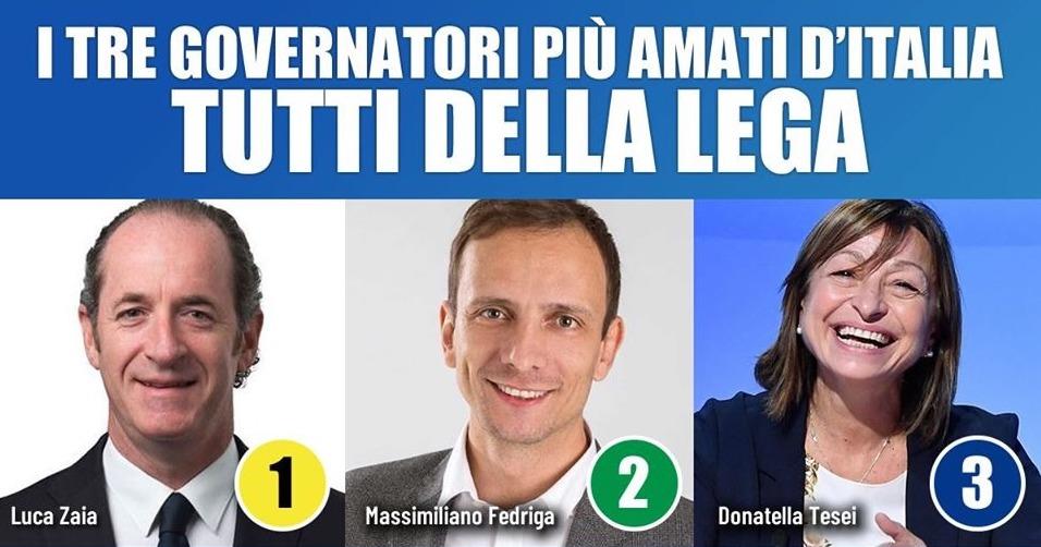Classifica dei governatori, i primi tre posti conquistati dalla Lega di Matteo Salvini